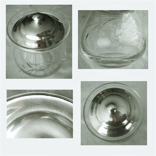 International Sterling Silver Top Cut Glass Jam or Jelly Jar