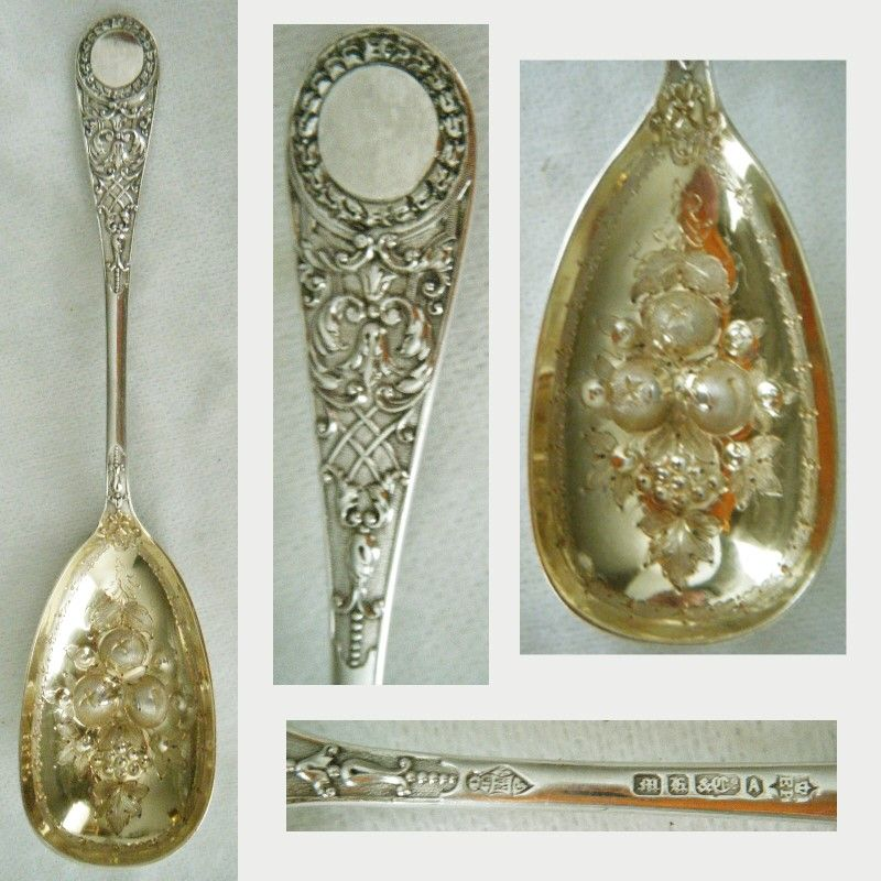 Martin Hall & Co. Silver Plate Decorative Chased Berry Spoon x 2