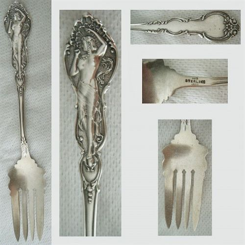 Fessenden Female Nude Individual Sterling Silver Pastry Fork