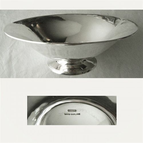 """David Carlson 8 1/2"""" Diameter A&C Hammered Open Sterling Silver Bowl"""
