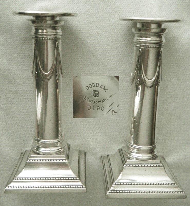 Gorham 1899 No. 0190 Pair Pedimented Columnar Silverplate Candlesticks