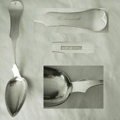 "Wilson McGrew, Cincinnati, ""Fiddle Tipt"" Coin Silver Serving Spoon"