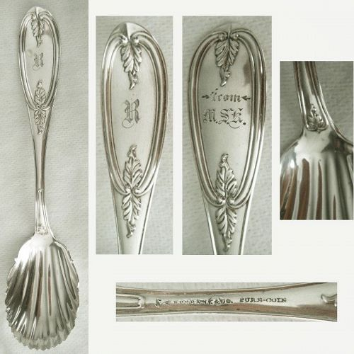"""A.F. Burbank """"Olive"""" Pure Coin Silver Shell Bowl Preserve Spoon"""