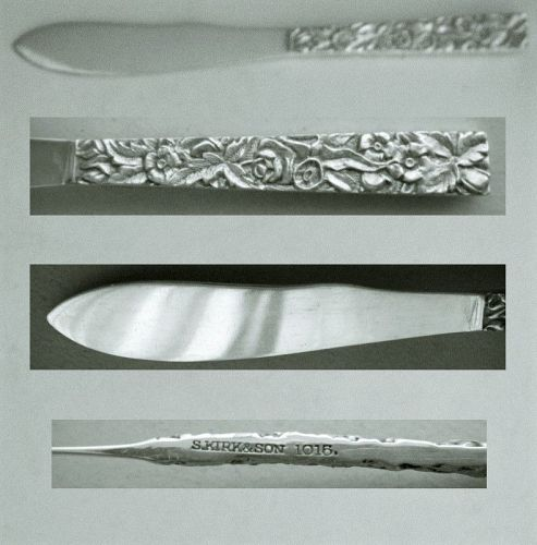 """S. Kirk & Son """"Repousse"""" Small Solid 10.15 Silver Knife"""