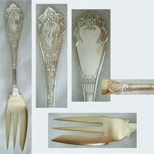 """Wood & Hughes """"Murillo"""" Sterling Silver Pastry or Pickle Fork"""