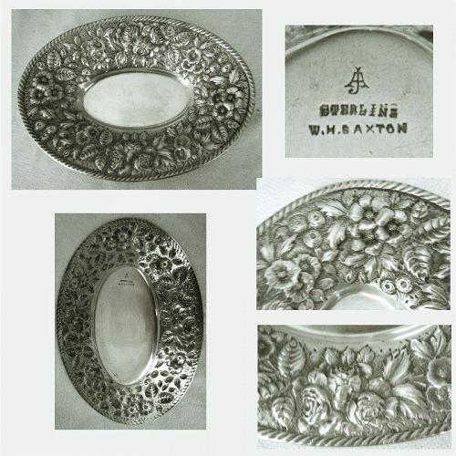 """""""Repousse"""" Sterling Silver Oval Bowl W.H. Saxton circa 1900"""