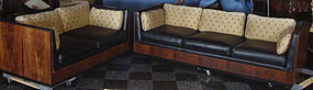 Art Deco Couch and Loveseat Set Rosewood and Leather