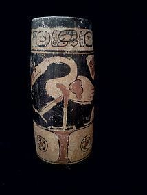 Pre-Columbian Mayan Decorated Cylinder.