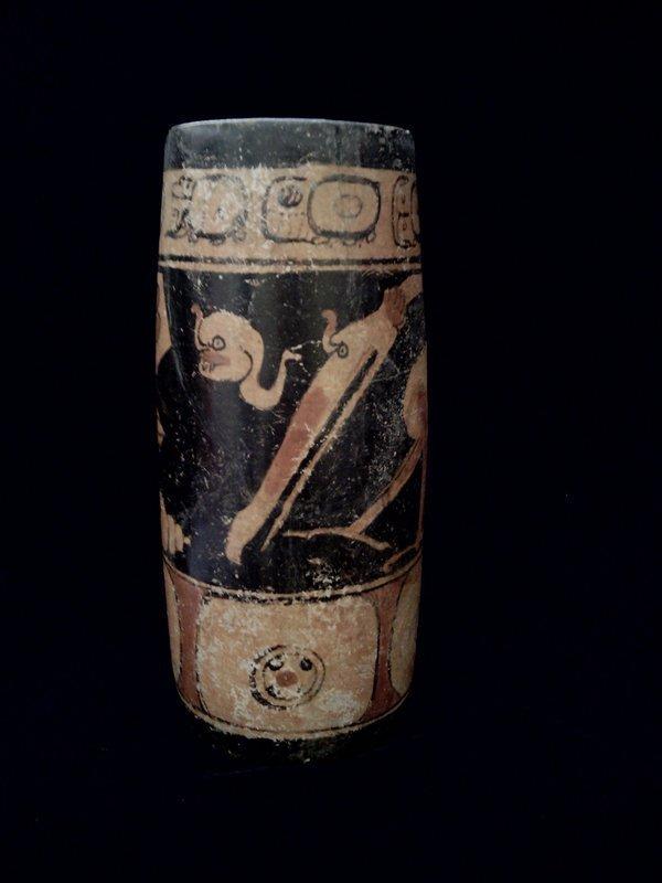 Pre-Columbian Mayan Decorated Cylinder.