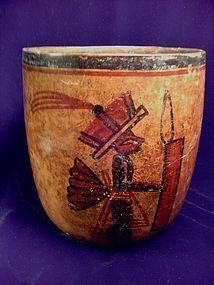 Pre-Columbian Mayan Warrior Cylinder Vase