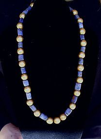 Pre-Columbian Columbia Gold and Lapis Necklace