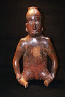 Large Colima Redware, Sitting Male Figure