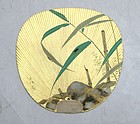 Pair of uchiwa (fan) Firefly and Bamboo on Gold Leaf