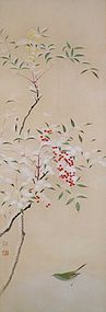 Japanese Painting, Bird and Flower by Hamada Kan, Showa