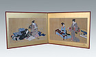 Japanese Antique Ukiyo-e Folding Screen, Beauties
