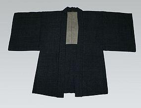 A Vintage Indigo Dyed Cotton Kasuri Kimono Haori