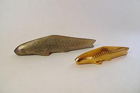A pair of Koi Fish Carp Bronze Paper Weight