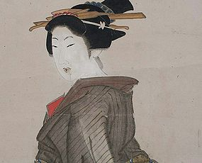 Antique Japanese Ukiyo-e Bijinga Standing Beauty