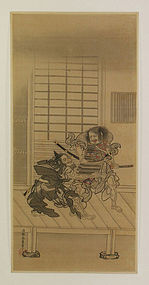 Antique Japanese Painting Samurai by Eishin Edo period