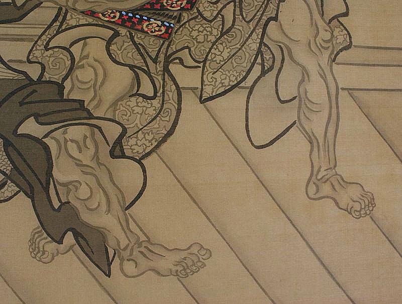 Antique Japanese Painting Samurai by Eishin Edo period