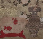 Antique Japanese Folding Screen, Goldfish and Flower