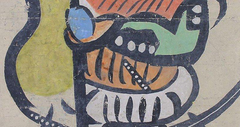 Antique Japanese Otsu-e Otsu painting circa 19/20th C.