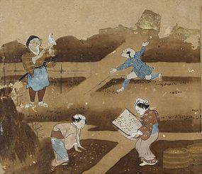 Antique Japanese Painting Album Nara-ehon 17th C