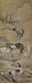 Antique Japanese Kano School Painting Horses