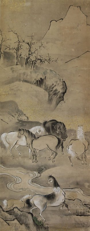 Antique Japanese Kano School Painting Horses