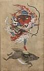 Antique Buddhist Painting Marishi-ten Molizhitian Pusa