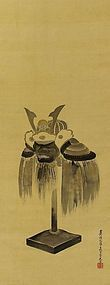 Antique Japanese Painting Samurai Helmet mid Edo