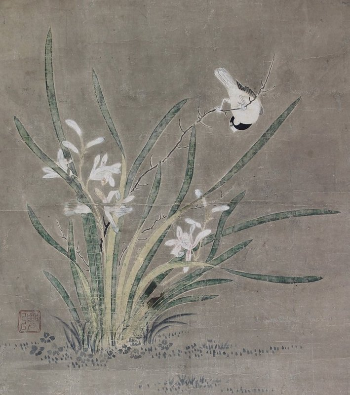 Antique Japanese Painting Bird and Flower by Kano Koi