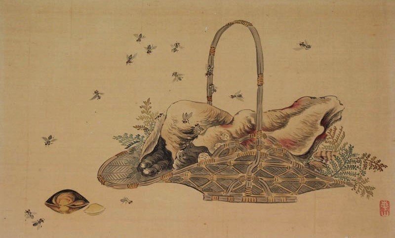 Antique Japanese Painting Oysters surrounded by fries, Edo period