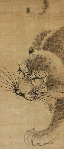 Antique Japanese Scroll,Kakejiku,Kakemono,Leopard,Circa mid 18th-19thC