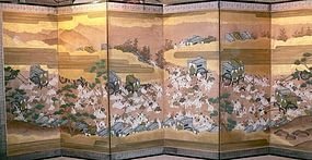 A Japanese six panels screen (byobu)
