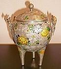 A pretty Japanese silver vase