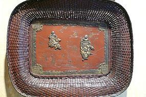 Japanese bronze tray