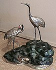 Japanese Silvered Bronze of Cranes