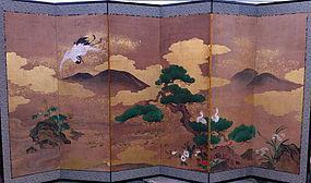 A Japanese 6-panels screen attributed to Kano Yoshinobu