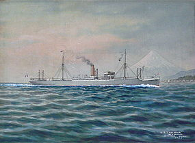 "Japanese Ship Painting Signed Shimiozu ""Yokohama"""
