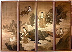 Japanese 4-Panels Screen on Silk Signed Akihura