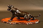 Japanese Bronze of a Tiger Finely carved