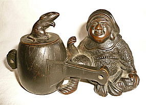 Bronze Okimono of Daikoku with his Mallet
