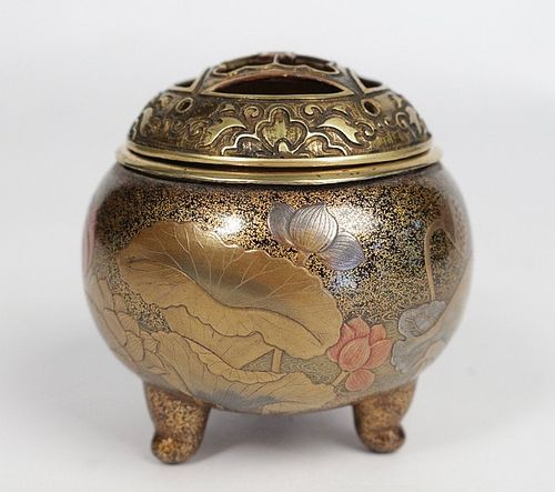 Lacquered Incense Burner on gilded Copper Base