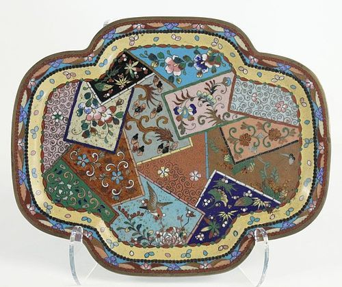 A Cloisonné Copper Tray with Patchwork Design