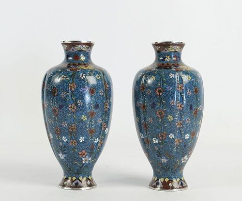 Pair of Cloisonné Silvered Copper Vases