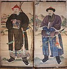 Pair of High-ranking Chinese Warriors Wall Paper Painting