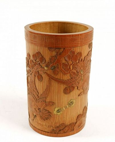 A fine Lacquered Bamboo Brush Pot