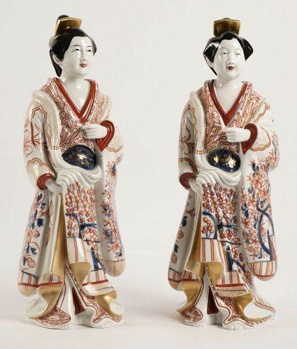 Two Large Bijin (Beauties) in Imari Porcelain