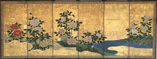 6-Panel Screen of Peonies and Butterflies